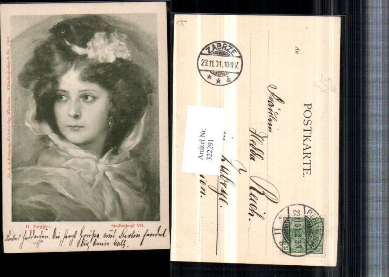 322291,Künstler AK H. Torggler Studienkopf Frau Portrait pub A. Ackermann 1100