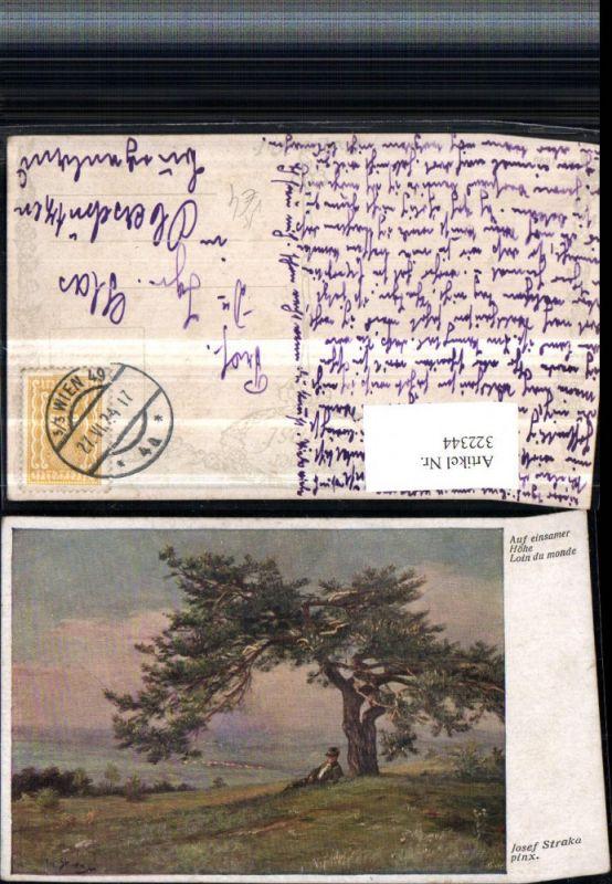 322344,Künstler AK Josef Straka Auf einsamer Höhe Landschaft Baum pub B.K.W.I. 1629