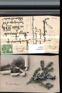 323074,Weihnachten Wegpartie Felsen Passepartout Zerrissenes Papier Tannenzweig
