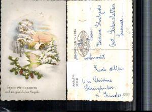 323144,Künstler AK Weihnachten Winterlandschaft Haus Bach Tannenzweig Zapfen