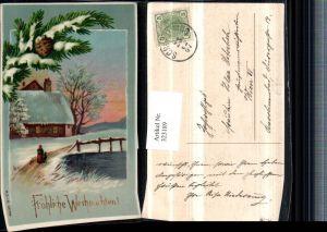 323189,Künstler AK Weihnachten Winterlandschaft Haus Tannenzweig Zapfen
