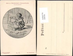 320556,Künstler Ak A. Hendschel 79 Die Baukunst Bub Junge Kartenhaus