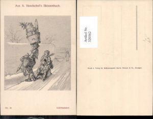 320562,Künstler Ak A. Hendschel 24 Schlittenfahrt Schlitten Rodel