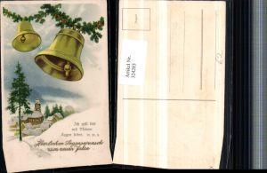 324283,Künstler AK Neujahr Winterdorf Glocken Tannenzweige Stechpalmen