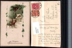 324312,Künstler AK Weihnachten Winterlandschaft Haus Tor Rehe Rehbock Tannenzweig