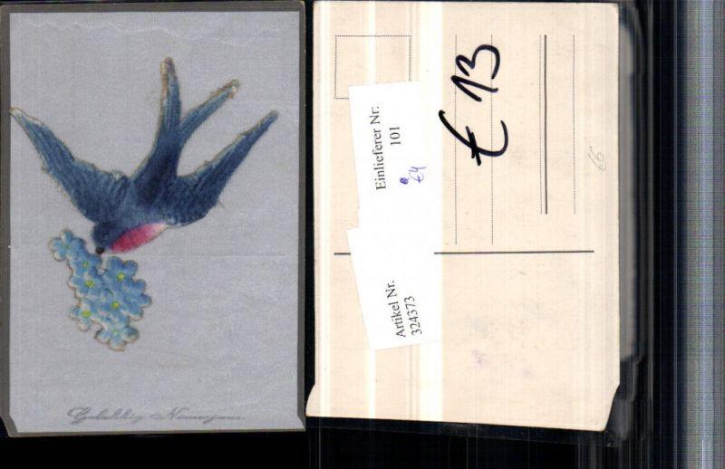 324373,Material Künstler AK Stoff Seide aufgeklebt Neujahr Vogel Schwalbe Vergissmeinnicht