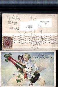 324416,Künstler AK E. Reckziegel Neujahr Kind Sektflasche Segelflieger Klee pub B.K.W.I. 3028/1
