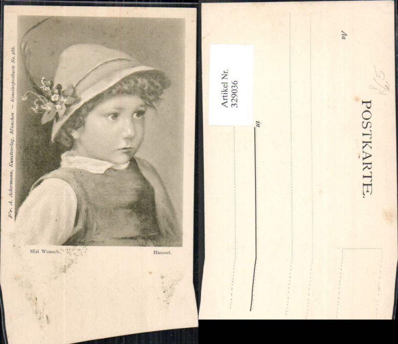 329036,Künstler Ak Mizi Wunsch Hanserl Bub Junge Trachtenhut Hut pub Ackermann 486