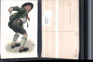 326365,Künstler AK F. Quidenus Scherz Humor Mann Hut Po Zunge rausgestreckt