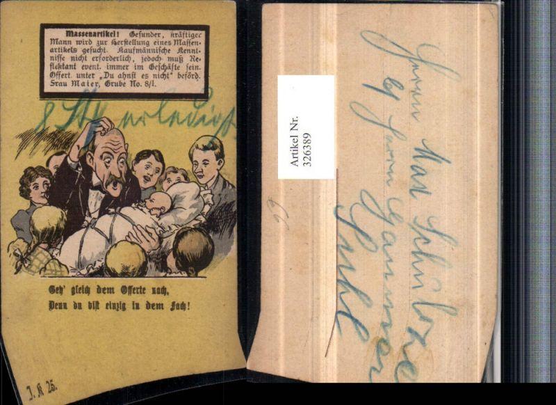 326389,Künstler AK Scherz Humor Personen Mann kratzt sich am Kopf Kind Spruch Suchanzeige