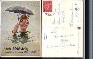 326390,Künstler AK Scherz Humor Mann Hut Brille Schirm Regen Wasser Spruch pub A. Lengauer 3203