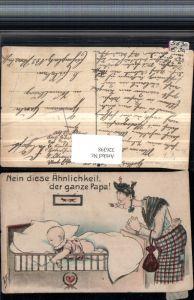 326398,Künstler AK Willi Scheuermann Scherz Humor Spruch Frau m. Brille Bett Baby nackter Popo