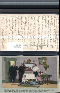 326407,Künstler AK Scherz Humor Familie Gast Junge m. Kanone Mädchen liest lesen Spruch