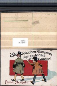 326411,Künstler AK Scherz Humor Neujahr Männer Mann sieht über die Achsel Spruch