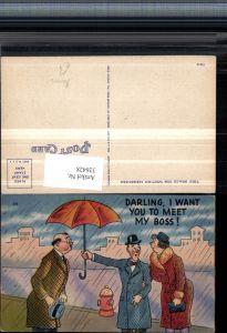 326428,Künstler AK Scherz Humor Paar Mann m. Brille Schirm Regen Spruch