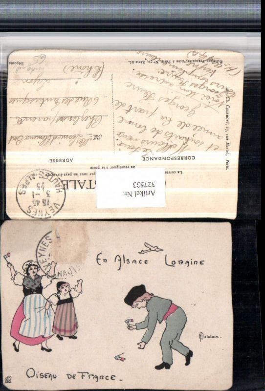 327533,Französische Künstler AK Handgemalt H. Delalain Frau Kinder Flaggen Fahne