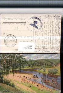 327537,Künstler AK Moskwin An der Tränke Rinder Kühe Fluss Landschaft
