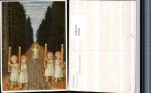 327584,Künstler AK Matthäus Schiestl Das Licht d. Welt zieht durch d. Wald Jesuskind Kinder Kerzen