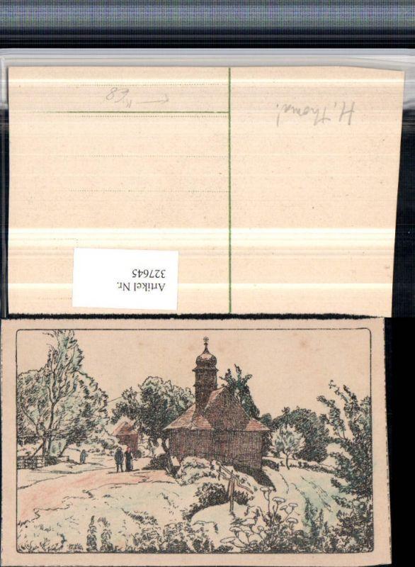 327645,Künstler AK H. Thoma Landschaft Kirche