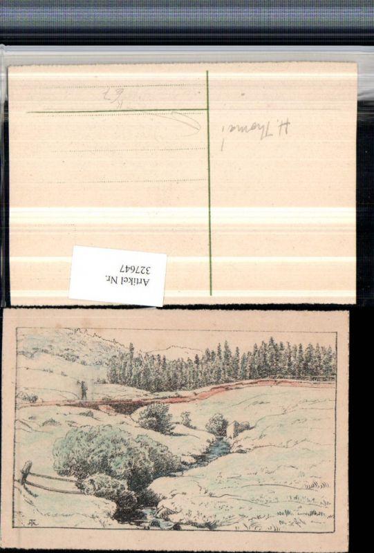327647,Künstler AK H. Thoma Landschaft Brücke Bach