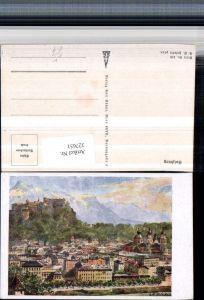 327651,Künstler AK E. F. Hofecker Salzburg Teilansicht m. Festung pub Karl Kühne 576