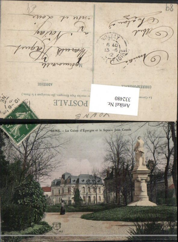 332480,Burgund Yonne Sens La Caisse d'Epargne et le Square Jean Cousin Denkmal