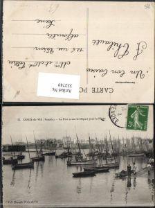 332749,Pays de la Loire Vendee Croix-de-Vie Port avant le Depart pour la Peche Hafen Segelboote