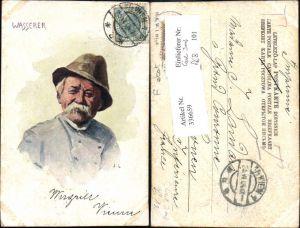 336659,Künstler Ak Carl Josef Wasserer Mann Hut Typen Volkstypen pub B.K.W.I. 917/2