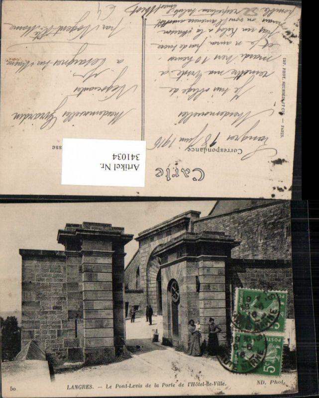 341034,Champagne-Ardenne Haute-Marne Langres Le Pont-Levis de la Porte de l'Hotel de Ville