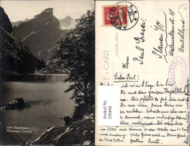 350448,Seealpsee b. Wasserauen Rossmand u. Säntis Bergkulisse Kt Appenzell