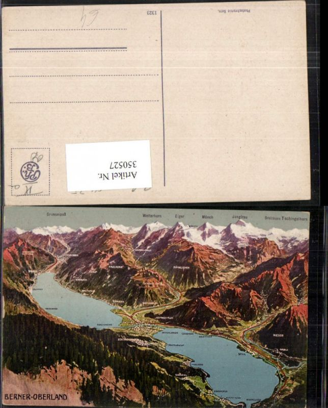 350527,Berner Oberland Seen aus d. Vogelschau Interlaken Brienz Wengen Kt Bern