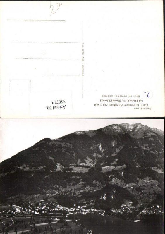 350713,Aussicht v. Cafe Kerenzer-Berghus b. Filzbach Blick auf Weesen Totale Kt Glarus