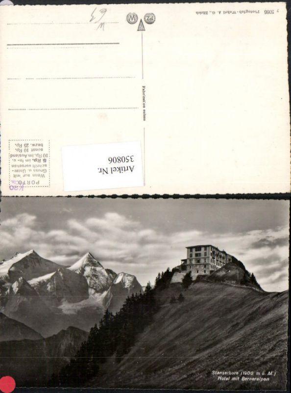 350806,Stanserhorn b. Stans Hotel m. Berneralpen Bergkulisse Kt Nidwalden