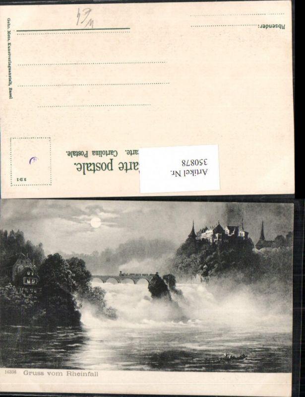 350878,Gruß vom Rheinfall Wasserfall b. Schaffhausen Schloss Mondschein