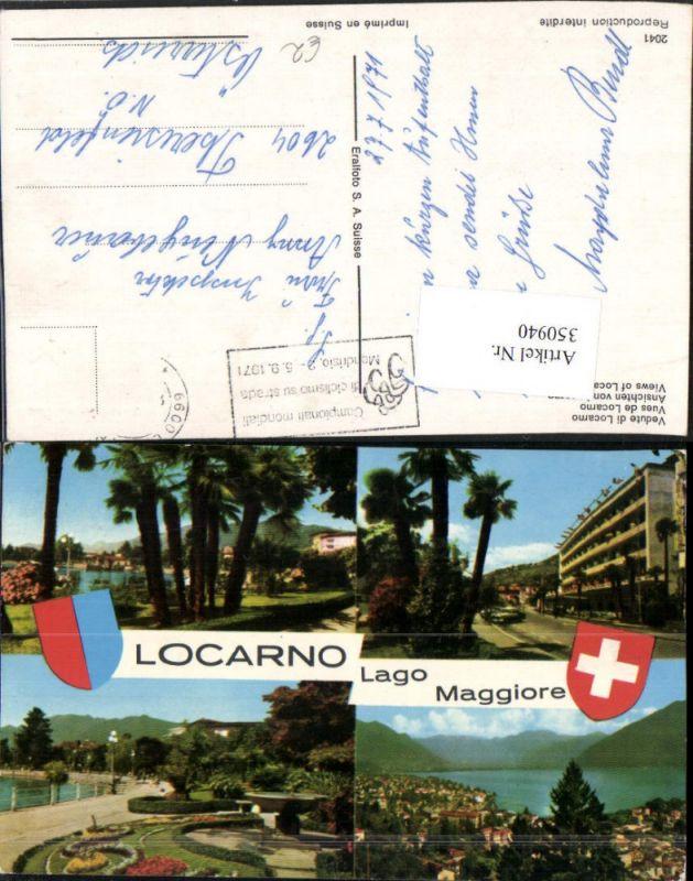 350940,Lago Maggiore Locarno Totale Brunnen Palmen Mehrbildkarte Kt Tessin