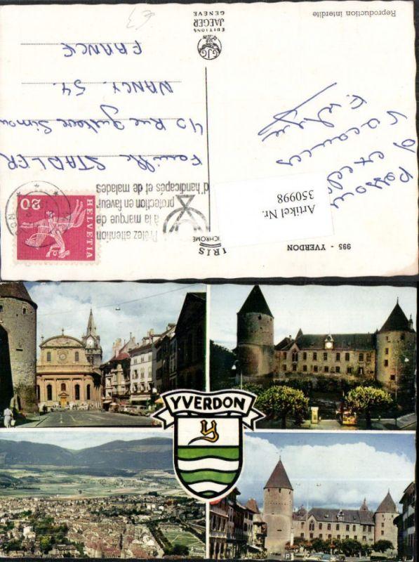 350998,Yverdon Totale Schloss Kirche Mehrbildkarte Kt Waadt