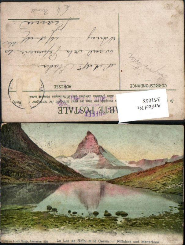 351068,Le Lac de Riffel et le Cervin Riffelsee u. Matterhorn b. Zermatt Kt Wallis