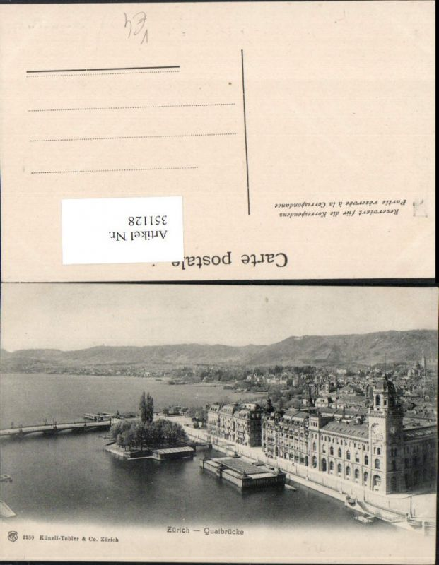 351128,Zürich Teilansicht Quaibrücke Brücke pub Künzli Tobler 2250