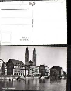 351146,Zürich Limmatquai Teilansicht Kirche