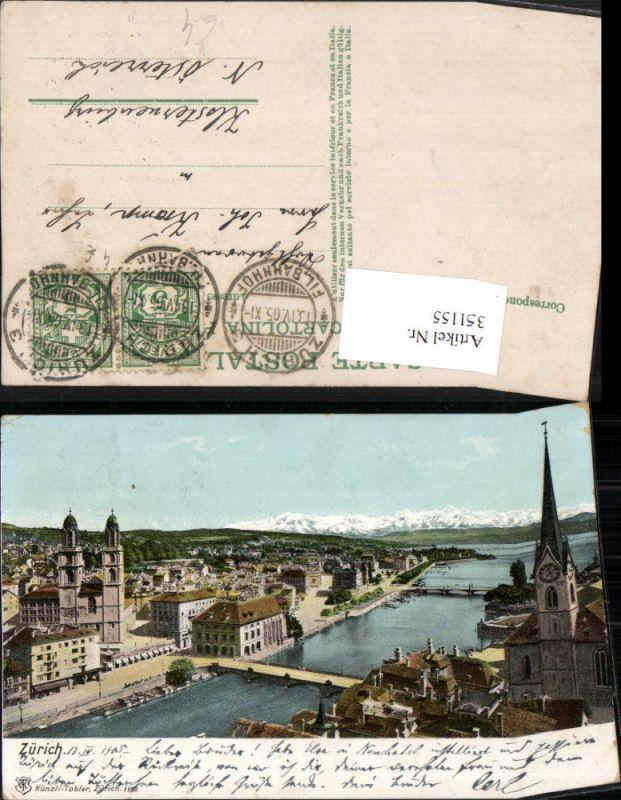 351155,Zürich Teilansicht Brücken Kirche pub Künzli Tobler 1182