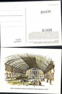 355512,Künstler Ak Bahnhof Berlin Ostbahnhof Küstriner Bahnhof Bahnsteighalle um 1868