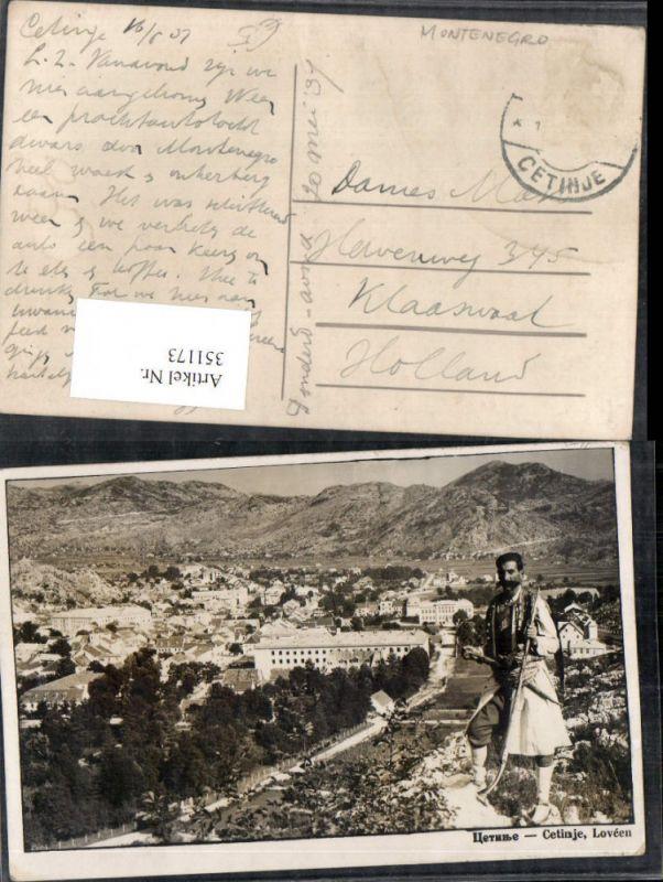 351173,Cetinje Lovcen Totale Bergkulisse Volkstyp