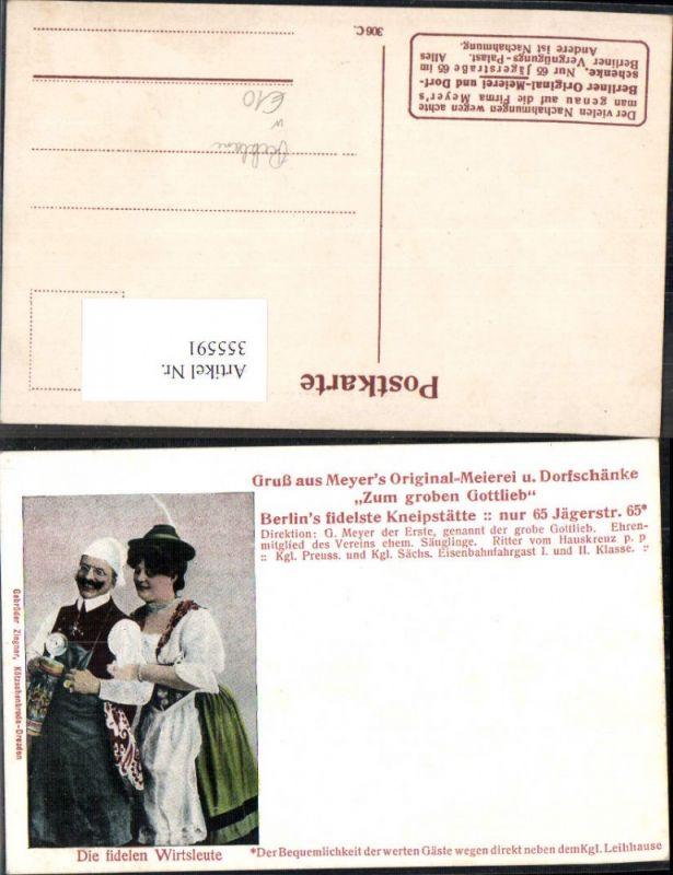 355591,Reklame Meyers Zum groben Gottlieb Original-Meierei u. Dorfschänke Bier Berlin