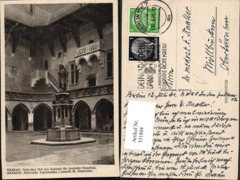 351804,Krakau Krakow Gotischer Hof des Instituts für deutsche Ostarbeit Statue