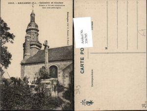 356785,Bretagne Finistere Arzanno Calvaire et Clocher Kirche Glockenturm Kruzifix
