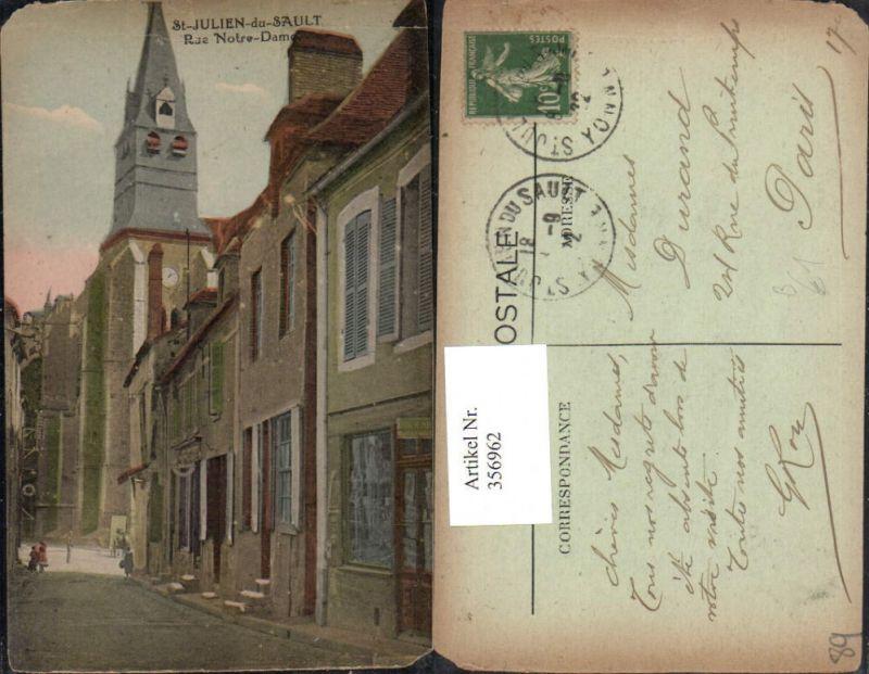356962,Burgund Yonne St-Julien-du-Sault Rue Notre-Dame Kirche Straßenansicht