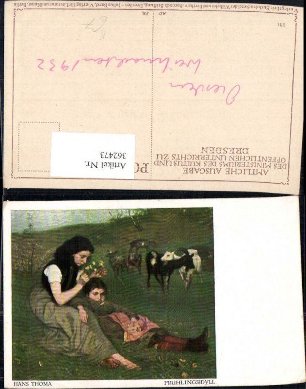 362473,Künstler Ak Hans Thoma Frühlingsidyll Frau Mädchen Ziegen a. Weide
