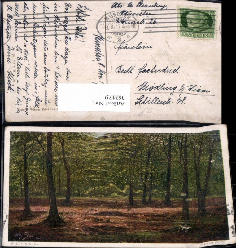 362479,Künstler Ak Willy Straka Amorweg Bank i. Wald Landschaft