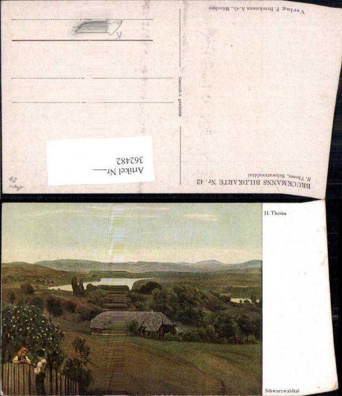 362482,Künstler Ak H. Thoma Schwarzwaldtal Landschaft