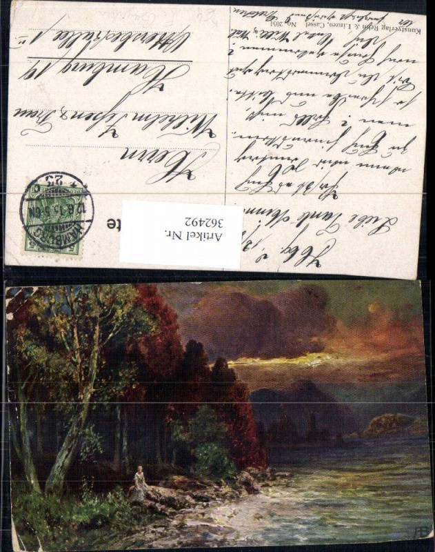 362492,Künstler Ak F. Bayerlein Frau a. Wasser Wald Landschaft Stimmungsbild